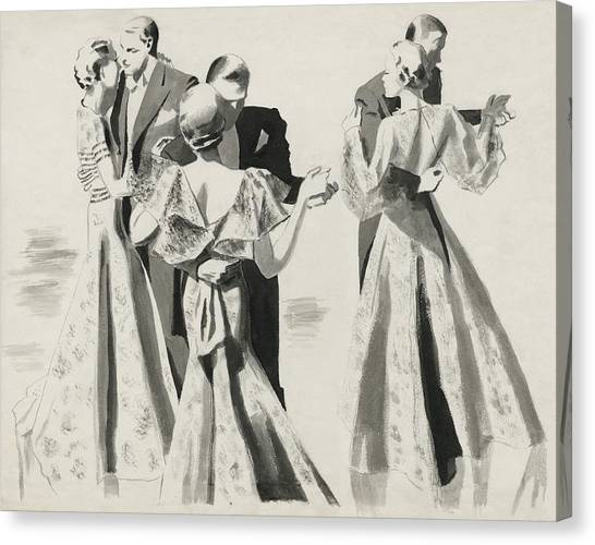 Indoors Canvas Print - Three Couples Dancing by Pierre Mourgue