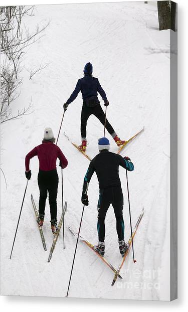 Three Cross Country Skiers. Canvas Print