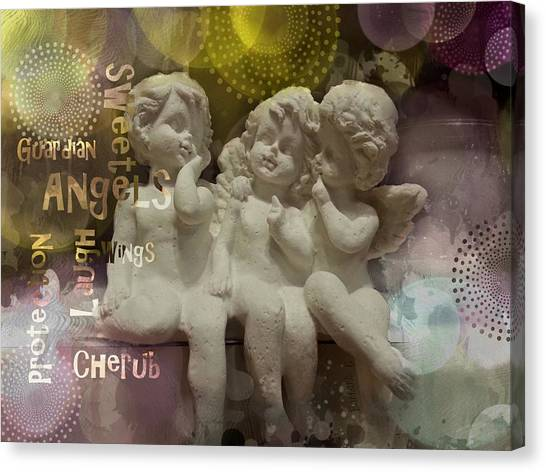 Three Cute Angels Canvas Print