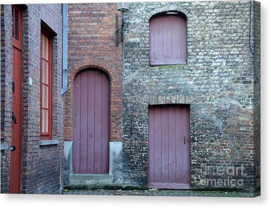 Three Doors And Two Windows Bruges, Belgium Canvas Print