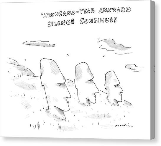 Easter Island Canvas Print - Three Easter Island Heads Are Show by Michael Maslin
