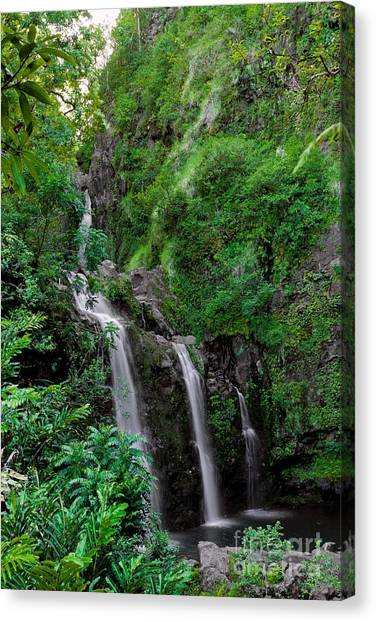 Three Falls On The Road To Hana Canvas Print