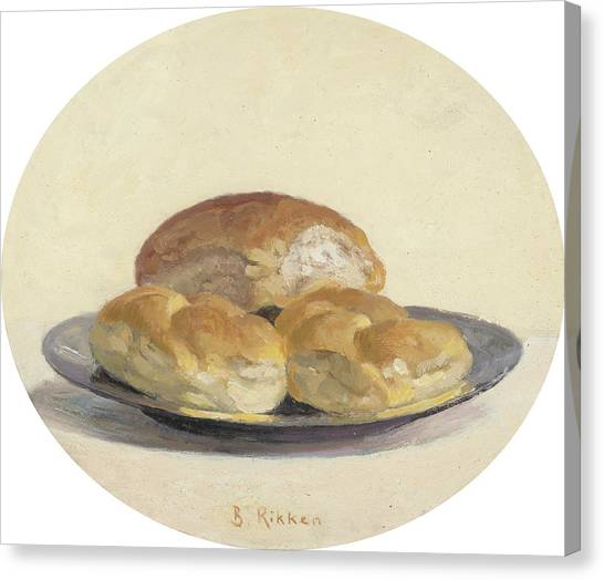 Three French  Rolls On An Iron Plate Canvas Print by Ben Rikken