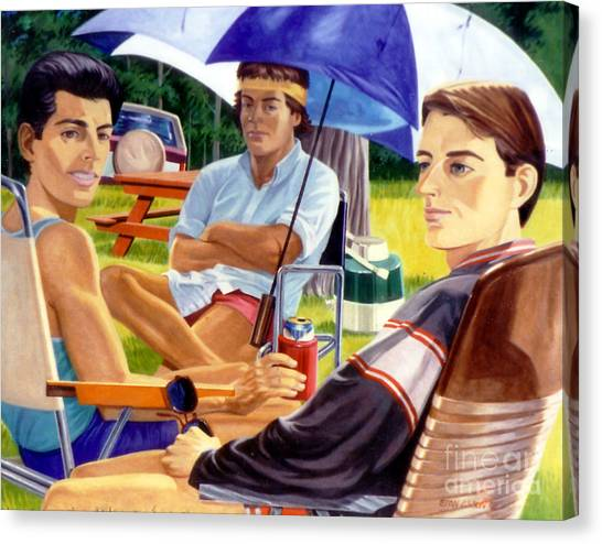 Three Friends Camping Canvas Print