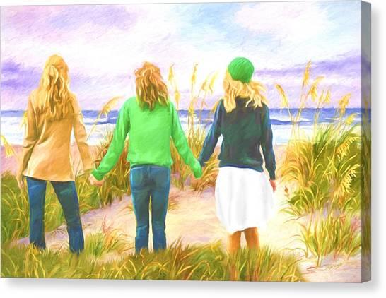 Three Girls At The Beach Canvas Print