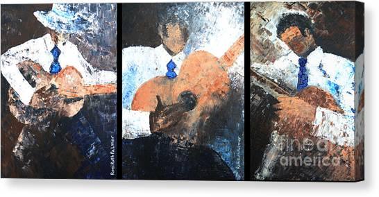 Three Guitar Players Canvas Print by Roni Ruth Palmer