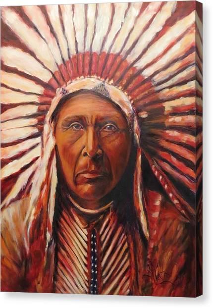 Three Horses, Native American  Canvas Print