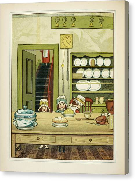 English And Literature Canvas Print - Three Little Girls At The Kitchen Table by British Library