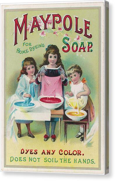 Dye Canvas Print - Three Little Girls Use Maypole  Soap by Mary Evans Picture Library