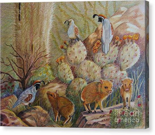 Landscape Canvas Print - Three Little Javelinas by Marilyn Smith