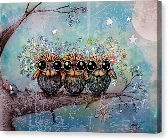 New Baby Canvas Print - Three Little Night Owls by Karin Taylor