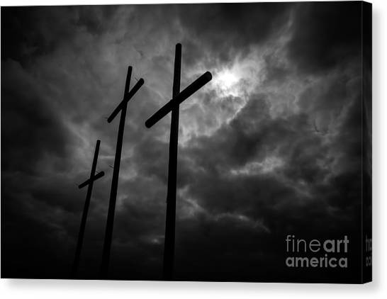Three Lonely Crosses In The Mississippi Delta Canvas Print