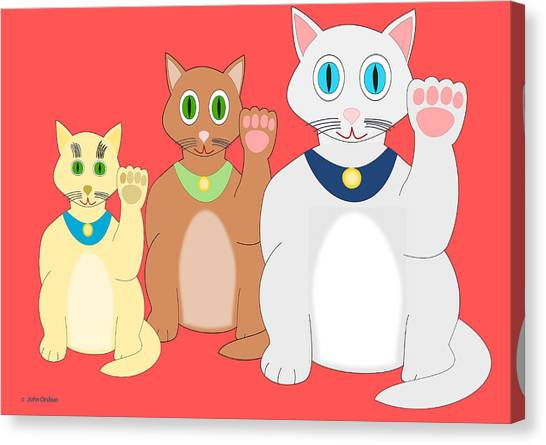 Three Lucky Cats Canvas Print