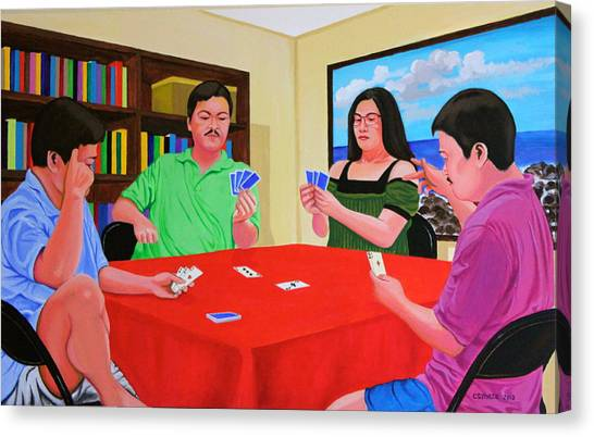 Three Men And A Lady Playing Cards Canvas Print