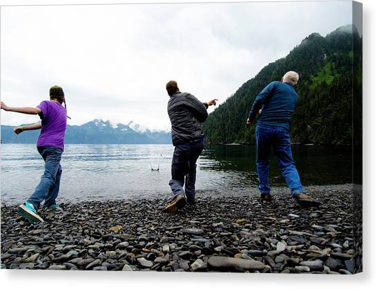 bea10cad44 Keris Canvas Print - Three Men Have A Rock-skipping Contest by Keri Oberly