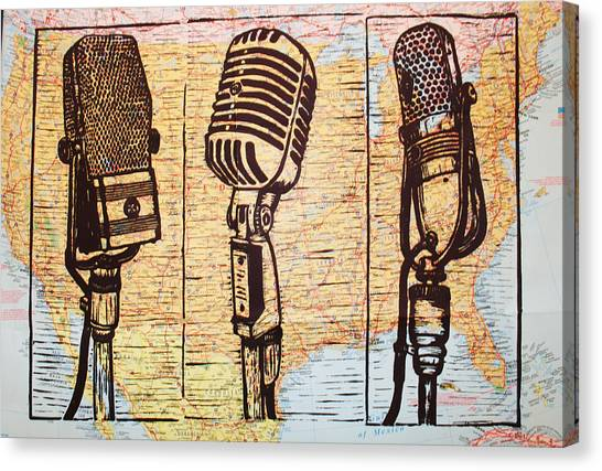 Three Microphones On Map Canvas Print