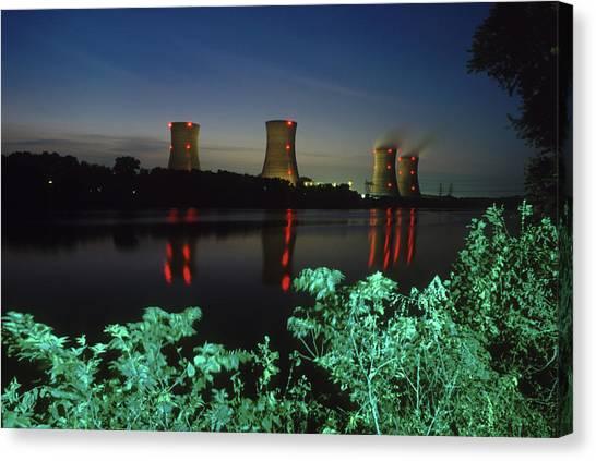 Nuclear Plants Canvas Print - Three Mile Island, Pennsylvania, Usa by Peter Essick