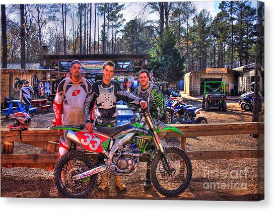 Motocross Canvas Print - Durhamtown Plantation And Three Motocross Friends by Reid Callaway