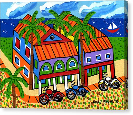 Three Motorcycles At Cedar Key Canvas Print