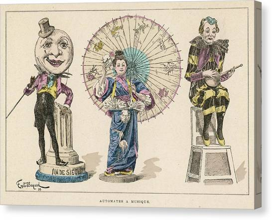 Automaton Canvas Print - Three Musical Automata, Including by Mary Evans Picture Library