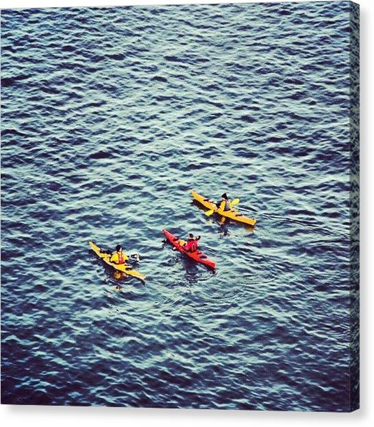 Kayaks Canvas Print - Three Musketeers by Marian Farkas