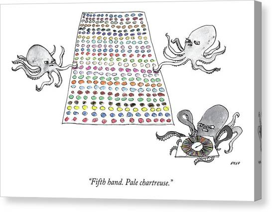 Octopus Canvas Print - Three Octopi Play Twister On A Giant Mat by Edward Steed