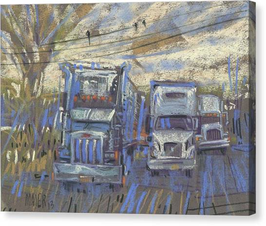 Three On A Wire Canvas Print by Donald Maier