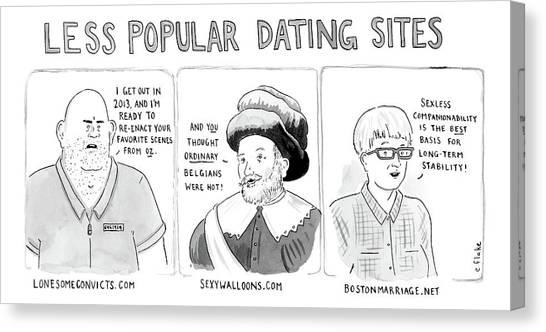 Three Panel Cartoon Of Online Dating Profiles Canvas Print