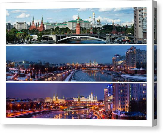 Three Panoramas Of Moscow Kremlin - Featured 3 Canvas Print