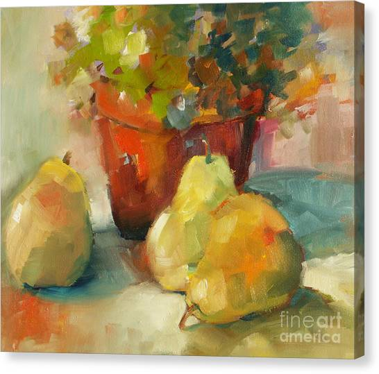 Three Pears And A Pot Canvas Print