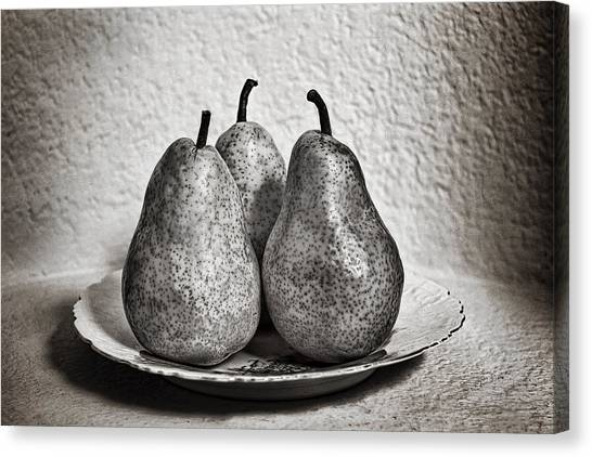 Three Pears On A Plate Canvas Print