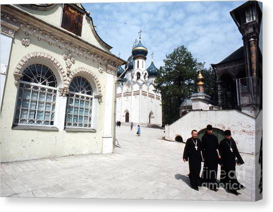 Orthodox Canvas Print - Three Russian Orthodox Priests At Zagorsk Monestery 1967  by The Harrington Collection
