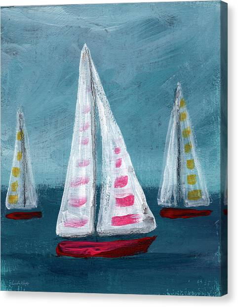 California Landscape Art Canvas Print - Three Sailboats by Linda Woods