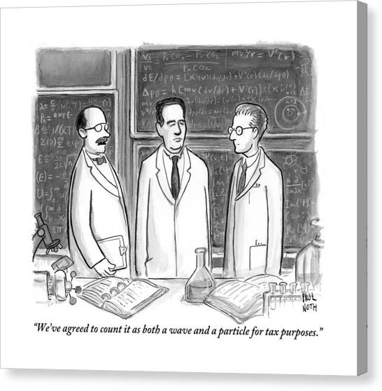Taxes Canvas Print - Three Scientists In A Lab by Paul Noth