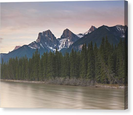 Three Sisters And Bow River Canmore Canvas Print by Richard Berry