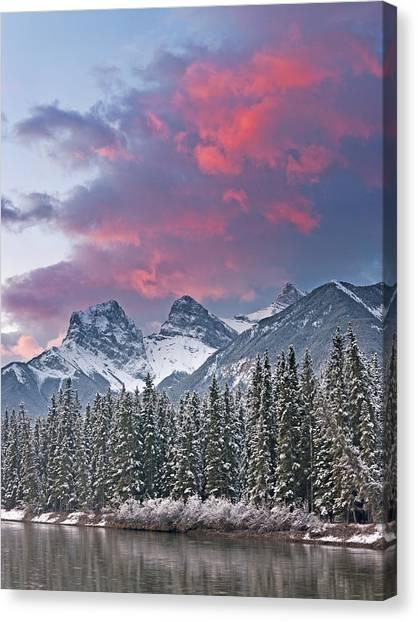 Three Sisters Winter Sunrise Canvas Print by Richard Berry