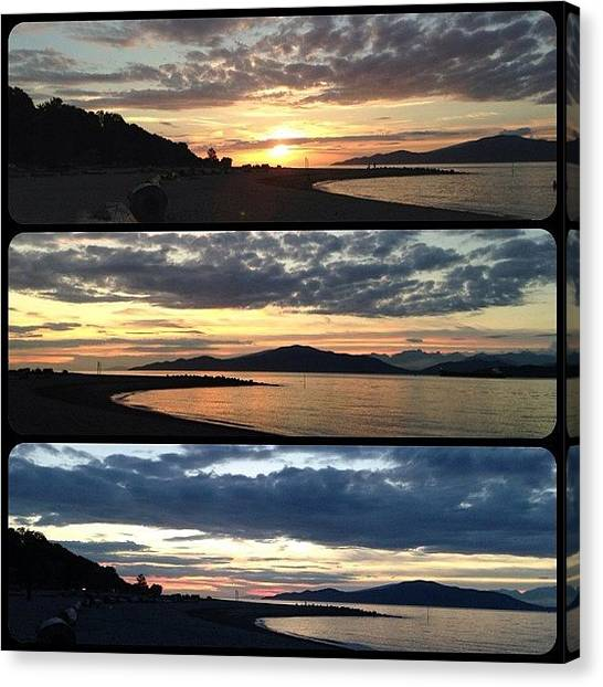 White Sand Canvas Print - Three Stages Of A Sunset by Connie Pretula