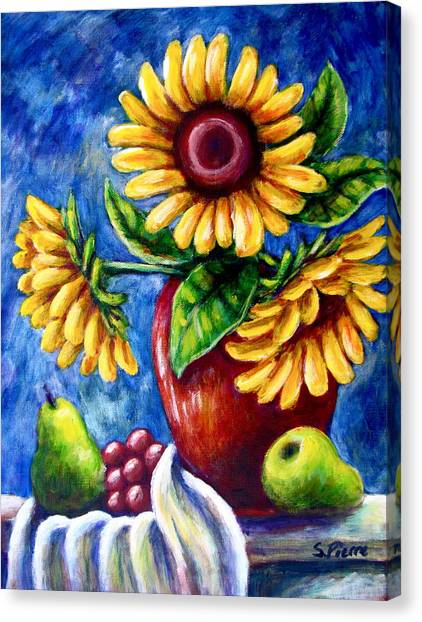 Three Sunflowers And A Pear Canvas Print