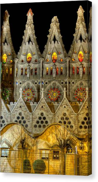Three Tiers - Sagrada Familia At Night - Gaudi Canvas Print