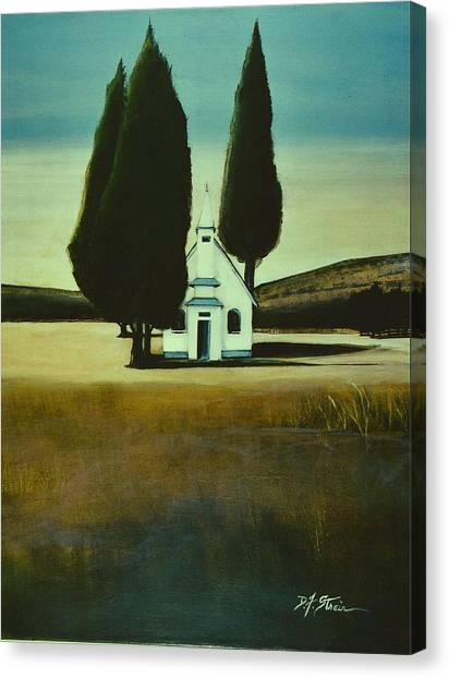 Three Trees And A Church Canvas Print