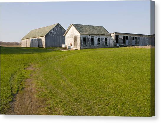 Three Weathered Farm Buildings Canvas Print
