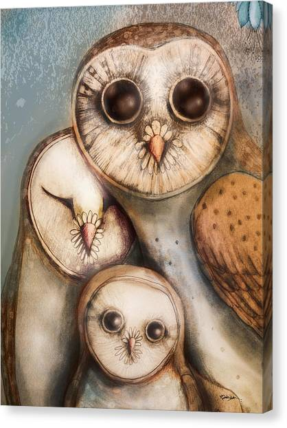 Baby Bird Canvas Print - Three Wise Owls by Karin Taylor