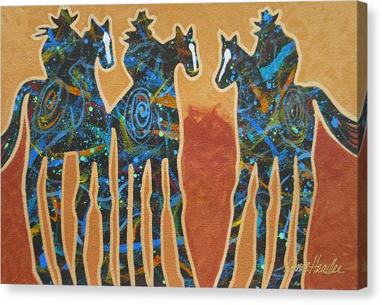 Colorado Cowgirl Canvas Print - Three With Rope by Lance Headlee