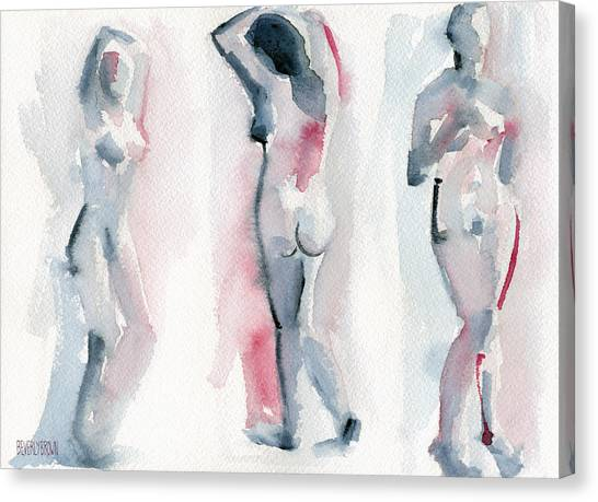 Navy Canvas Print - Three Women Pink And Blue Watercolor Nude Figure Painting by Beverly Brown Prints