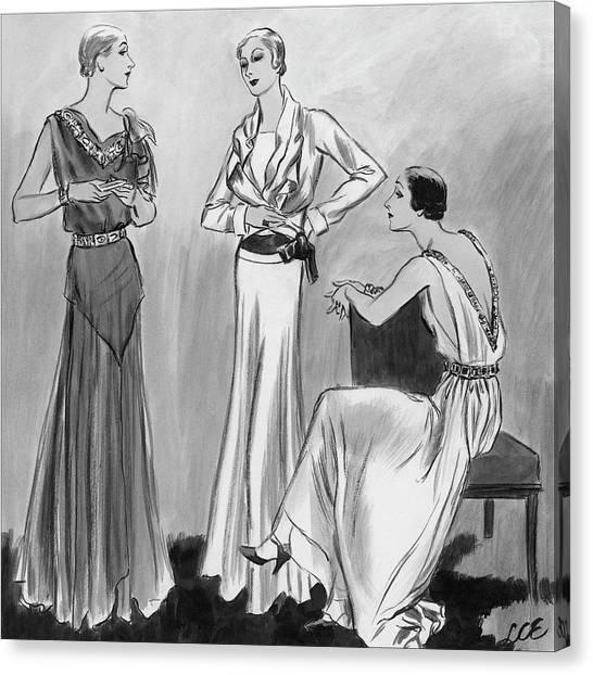 Three Women Wearing Designer Evening Gowns Canvas Print by Creelman