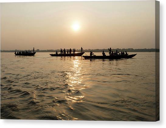 Ganges Canvas Print - Three Wooden Boats Filled With Tourists by Ali Kabas