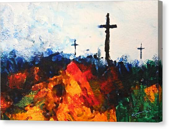 Three Wooden Crosses Canvas Print