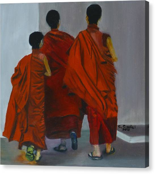 Three Young Monks Canvas Print