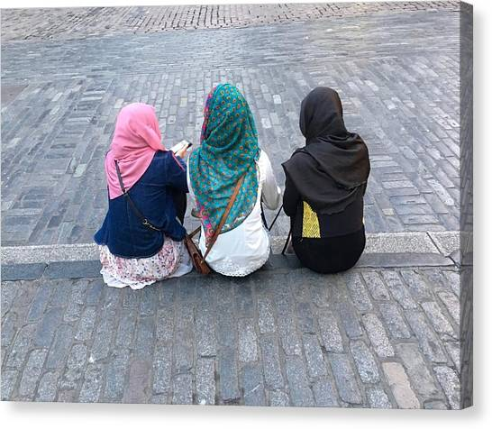 Three Young Muslim Girls Canvas Print by Montes-Bradley