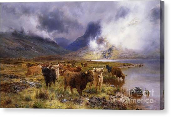 Mountainous Canvas Print - Through Glencoe By  Way To The Tay by Louis Bosworth Hurt